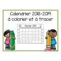 Calendrier à colorier et à tracer 2018-2019