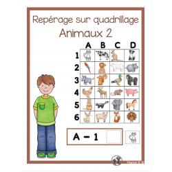 Repérage sur quadrillage (Animaux 2)