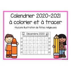 Calendrier à colorier et à tracer 2020-2021
