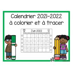 Calendrier à colorier et à tracer 2021-2022