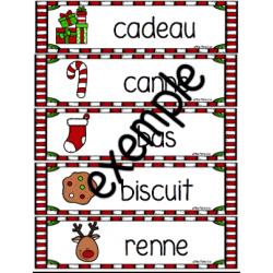 Mots étiquettes - thème de Noël