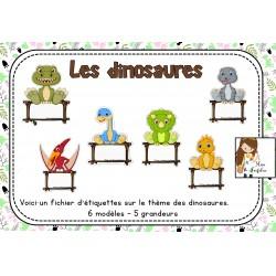 Ensemble d'affichettes-nom thème dinosaure