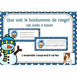 Que voit le bonhomme de neige - Les mots à tracer