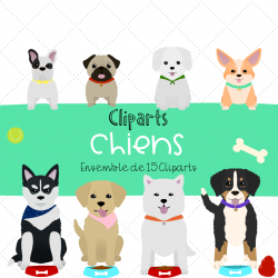 Cliparts chiens -  ensemble de 15 clipars