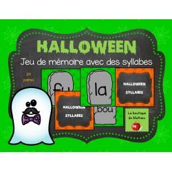 Jeu de mémoire de l'Halloween (SYLLABES)