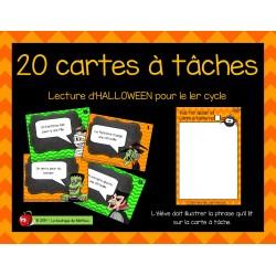 20 cartes à tâches de lecture (Halloween)