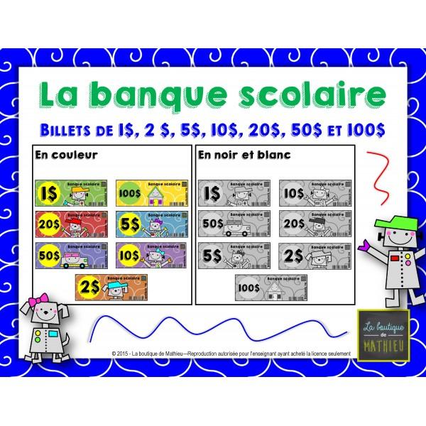 Billets de la banque scolaire (plusieurs coupures)