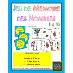 Jeu de mémoire (memory) nombres 1 à 10