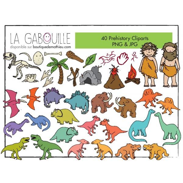 40 cliparts – Dinosaures et hommes des cavernes