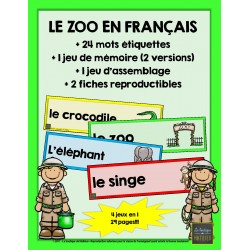 Le zoo en français! (4 documents en 1)