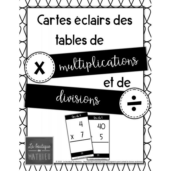 203 cartes éclairs multiplications/divisions