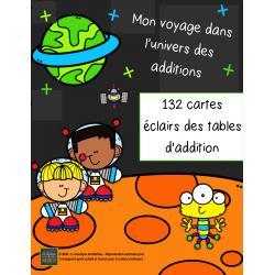132 cartes éclairs – Tables d'addition