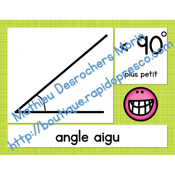 Affiches des angles (obtus, droit, aigu)