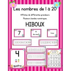 Affiches des nombres 1 à 20 - Hiboux
