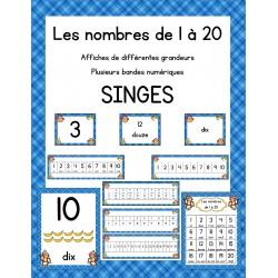 Affiche des nombres 1 à 20 - Thème des singes