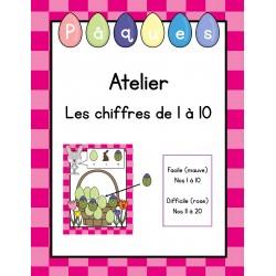 Atelier de Pâques - maths (nombres de 1 à 10)