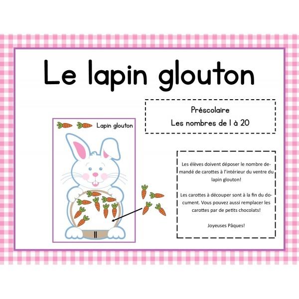 Le lapin glouton - jeu mathématique pour Pâques