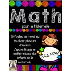 Math pour la maternelle - 20 feuilles SANS PRÉP