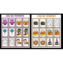 Jeux de mémoire Halloween  (2 jeux)