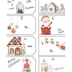 Label pour emballage cadeaux de Noel