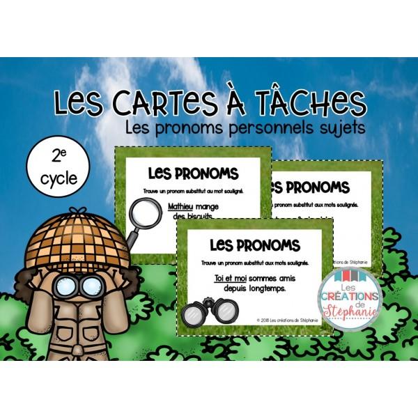 Les cartes à tâches : Les pronoms personnels