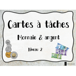Cartes à tâches - Monnaie et argent (niveau 2)
